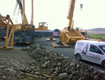 Crane & Safety at the erection of a Leibherr  LG1550 prior to the installation of wind turbines on the Boggeragh Mountains, Co Cork, Ireland