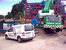 Crane & Safety coordinating steel erecting work involving two MEWPS and a mobile crane at St Andrews University, Scotland