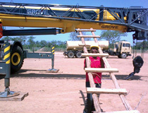 Crane & Safety instructor before travelling requested a 4m ladder to be on site when he arrived, this proud trainee made one, Lake Albert, Uganda